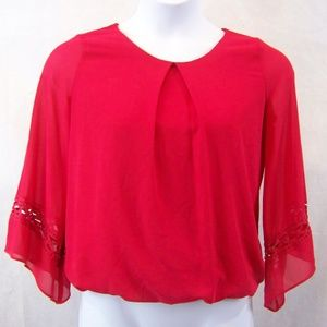 BCX Size Medium 3/4 Sleeves Flared Red Lined